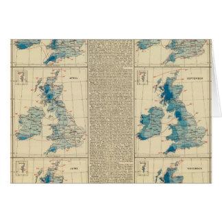 Cartão Precipitação, temperatura, ilhas britânicas