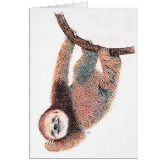 Cartão Preguiça do bebê que prepara-se