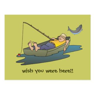 Cartão preguiçoso da pesca do dia do barco