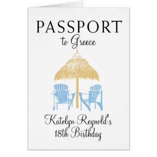 Cartão Presente da viagem do aniversário do passaporte da