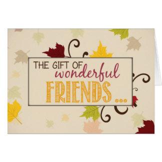 Cartão Presente de Friendsgiving das folhas dos amigos