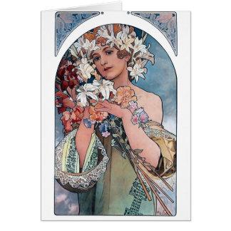 Cartão presente do art deco dos lillies do mucha