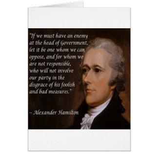 """Cartão """"Presente do líder inimigo"""" de Alexander Hamilton"""