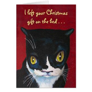 Cartão Presente do Natal do gato