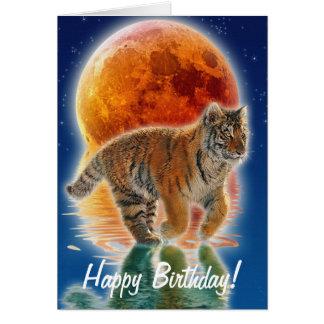 Cartão Presente dos animais selvagens do gato grande do