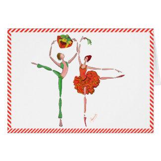 Cartão Presente, visco, Kitri e Ali do Natal do balé