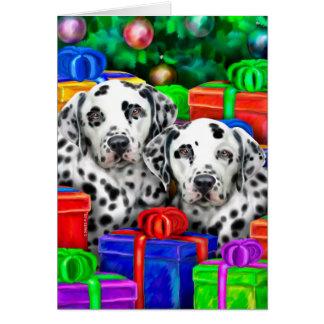 Cartão Presentes abertos do Natal Dalmatian