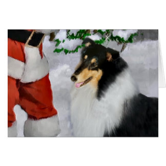 Cartão Presentes ásperos do Natal do Collie da Tri Cor