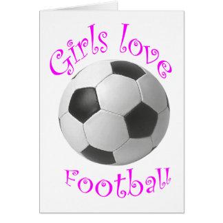 Cartão Presentes da arte do futebol do amor das meninas