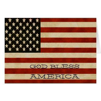 Cartão PRESENTES da bandeira americana do vintage