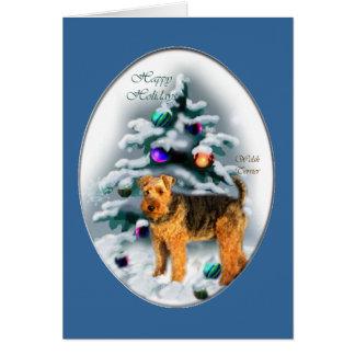 Cartão Presentes do Natal de galês Terrier