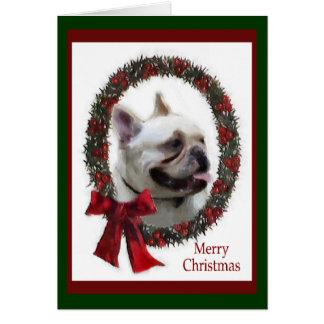 Cartão Presentes do Natal do buldogue francês