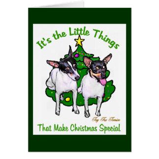 Cartão Presentes do Natal do Fox Terrier do brinquedo