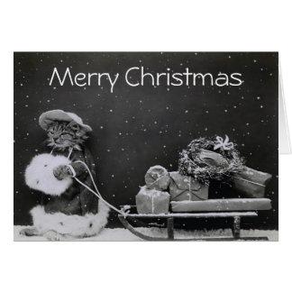 Cartão Presentes do rolamento do gato do Natal