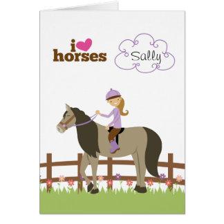 Cartão Presentes personalizados para meninas - cavalos do