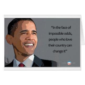Cartão Presidente de Obama face às probabilidades