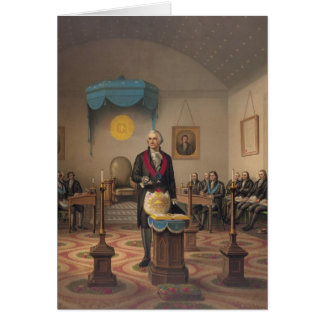 Cartão Presidente George Washington como um pedreiro
