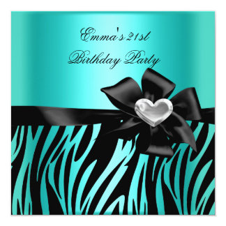 Cartão Preto azul da cerceta da prata da zebra do partido
