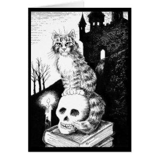 Cartão Preto bonito o Dia das Bruxas branco do gato,