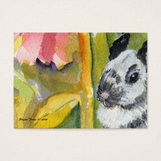 Cartão preto & branco da arte do ATC do coelho