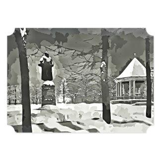 Cartão preto & branco da cena do inverno do