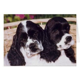 Cartão preto & branco do filhote de cachorro do