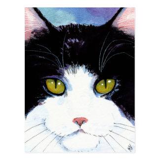 Cartão preto & branco do gato bonito do smoking de