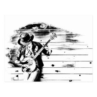 Cartão preto & branco do homem do banjo