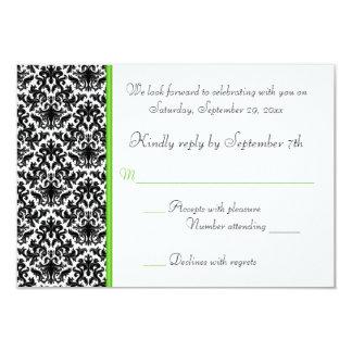 Cartão preto, branco, e verde do damasco RSVP Convite 8.89 X 12.7cm