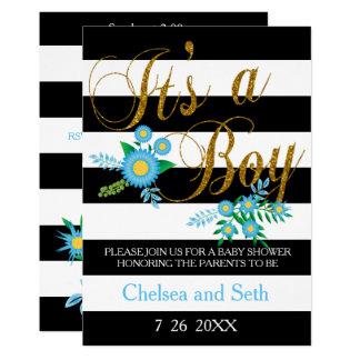 Cartão Preto & branco listra o chá de fraldas floral azul