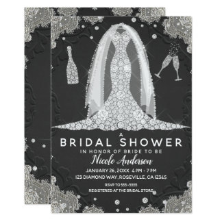Cartão Preto & chá de panela do vestido de casamento do