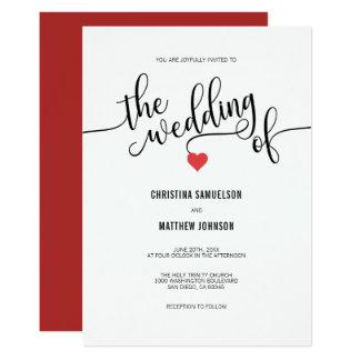 Cartão Preto chique moderno, casamento VERMELHO branco do