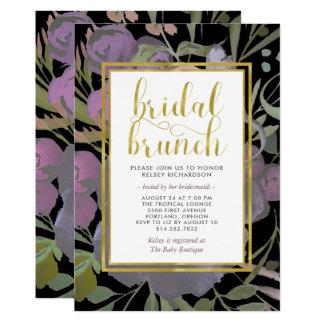 Cartão Preto com refeição matinal | nupcial floral roxa