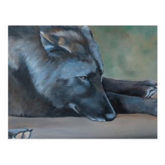 Cartão preto da arte do lobo