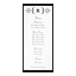 Cartão preto da cremalheira do menu do casamento