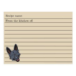 Cartão preto da receita do cão de german shepherd