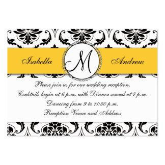 Cartão preto da recepção de casamento do amarelo d cartão de visita grande