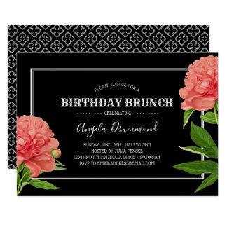 Cartão Preto da refeição matinal do aniversário da flor
