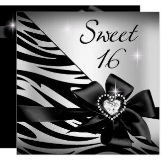 Cartão Preto de prata da zebra do doce 16 do doce