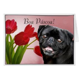 Cartão preto do cão do pug de Páscoa da boa