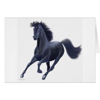 Cartão preto do cavalo do puro-sangue