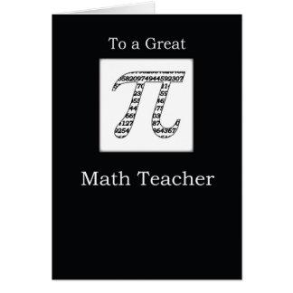 Cartão Preto do dia do Pi do professor de matemática