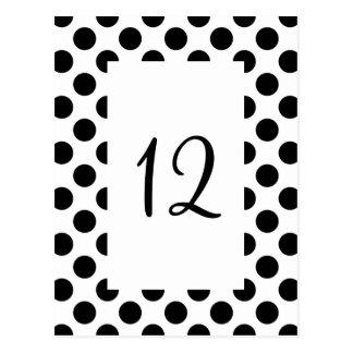 Cartão preto do número da mesa das bolinhas