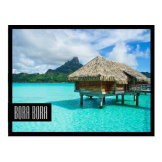cartão preto do quadro de Bora Bora do bungalow da