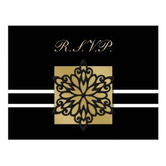 cartão preto do rsvp do casamento no inverno