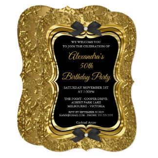 Cartão Preto dourado 2 do 50th ouro elegante da festa de