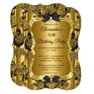 Cartão Preto dourado 3 do 50th ouro elegante da festa de
