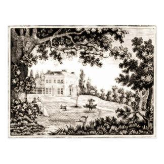 Cartão preto e branco da casa de campo