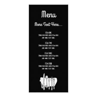 Cartão preto e branco da cremalheira do menu do