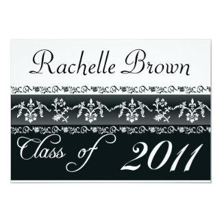 Cartão preto e branco da graduação 2011 convite 12.7 x 17.78cm